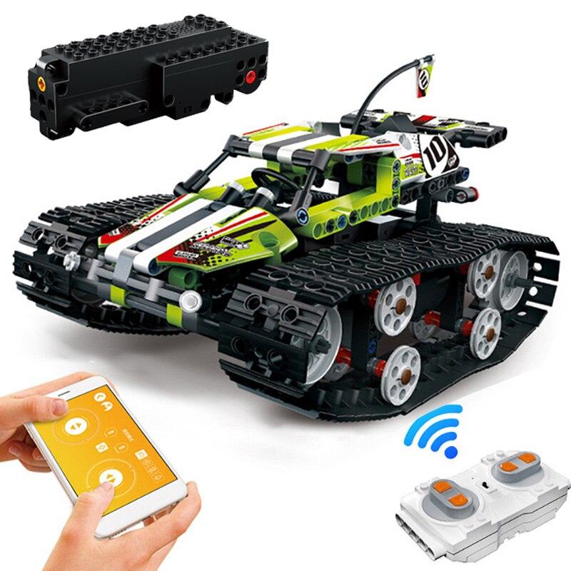 410pcs Technic RC Car APP Remote Control Tracked Stunt Car legoINGlys MOC Model Building Blocks Bricks STEM Toys for Children